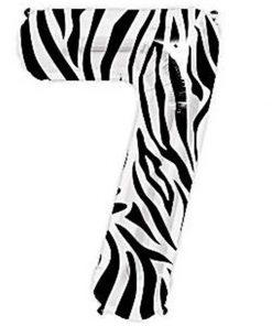 Zebra Print Number Foil Balloons