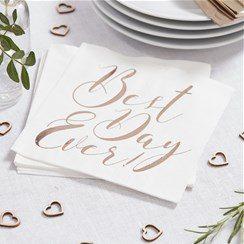 Wedding Beautiful Botanics Rose Gold Foiled Napkins
