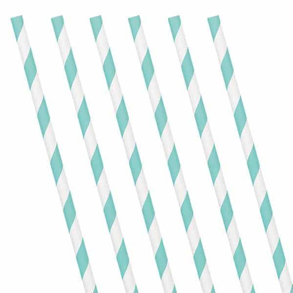 Robin's Egg Blue Stripe Paper Straws