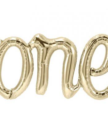 Age One White Gold Phrase Balloon Bunting