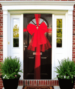 Red Door Bow Decoration