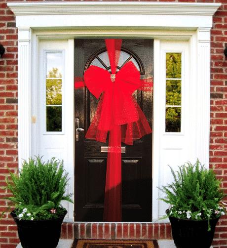 Red Door Bow Decoration