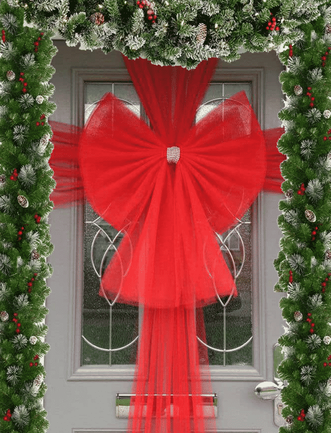 Buy Christmas Red Door Bow Fun Party Supplies Next Day