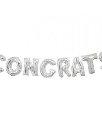 Congrats Silver Phrase Balloon Bunting