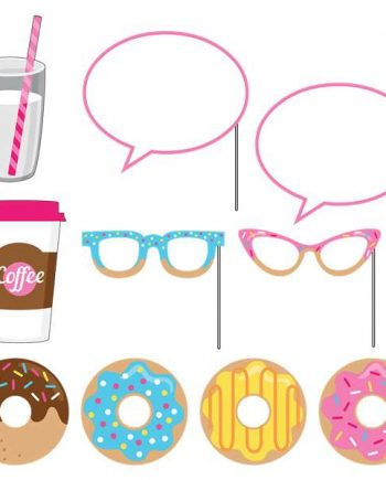 Doughnut Time Party Photo Booth Props Set
