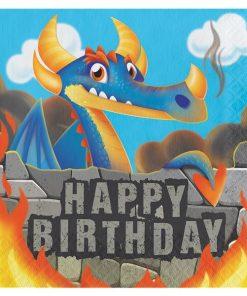 Dragon Party Paper Happy Birthday Napkins