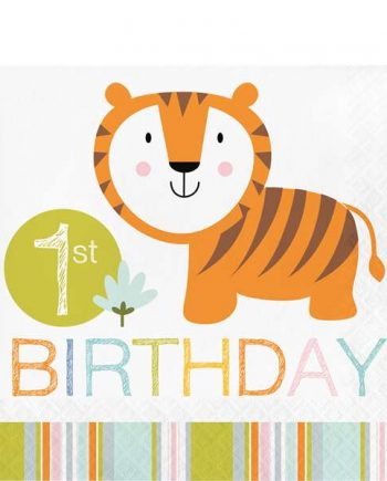 Happi Jungle Party 1st Birthday Lunch Napkins