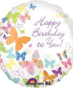 Happy Birthday Butterflies Foil Balloon
