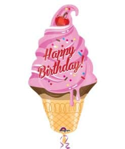 Ice Cream Cone Happy Birthday Foil Balloon