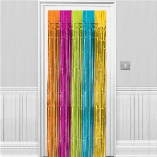 Multi Coloured Metallic Fringed Door Curtain