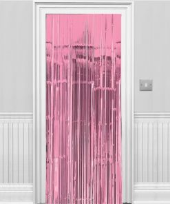New Pink Metallic Fringed Door Curtain