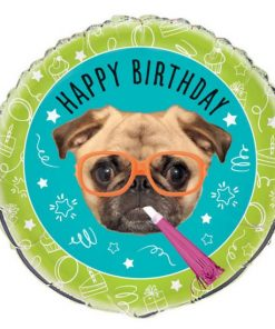 Pug Puppy Party Happy Birthday Foil Balloon