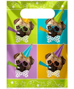 Pug Puppy Party Plastic Loot Bags
