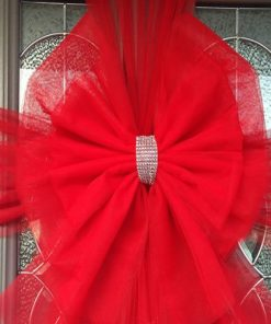 Red Deluxe Door Bow Diamante Centre