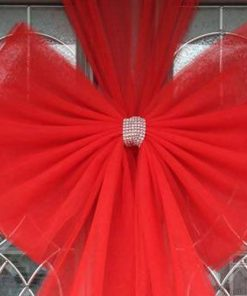Red Standard Door Bow Diamante Centre