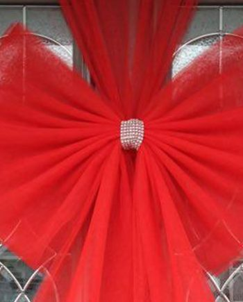 Red Standard Door Bow Diamante Centre