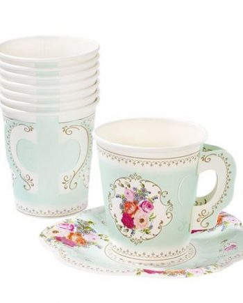 Truly Scrumptious Party Paper Cups with Saucers