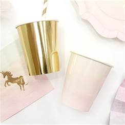 We Heart Unicorn Party Gold Pink Paper Cups