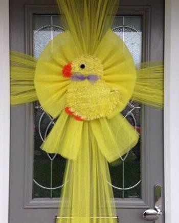 Easter Chick Deluxe Door Bow
