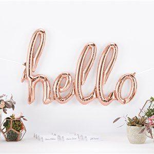 Rose Gold Phrase 'Hello' Foil Balloon
