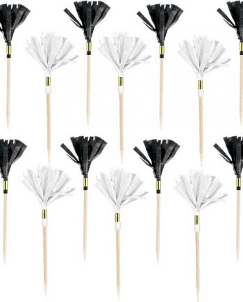 Black Buffet Paper Fan Picks