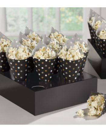 Black Buffet Snack Cones with Tray