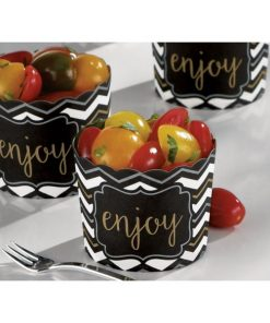 Black Large Scalloped Food Container