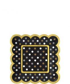 Black Scalloped Paper Plates - 14cm