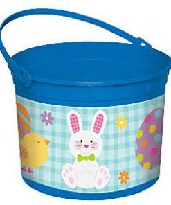 Blue Easter Bunny Plastic Bucket
