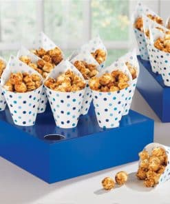 Blue Buffet Snack Cones with Tray