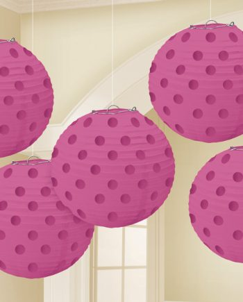 Bright Pink Foil Dot Hanging Lantern Decorations