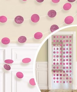 Bright Pink Glitter Hanging String Decorations