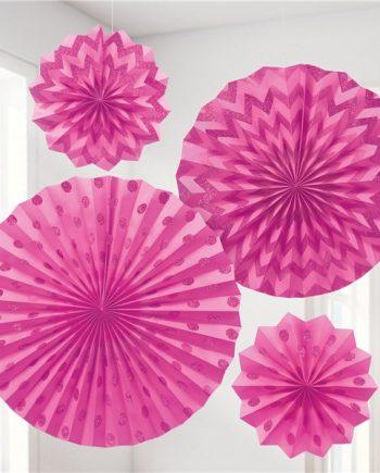 Bright Pink Paper Glitter Fan Decorations
