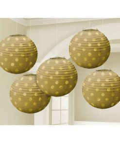 Gold Foil Dot Hanging Lantern Decorations