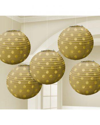 Gold Foil Dot Hanging Lantern Decorations