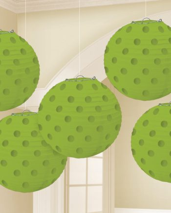 Lime Green Foil Dot Hanging Lantern Decorations