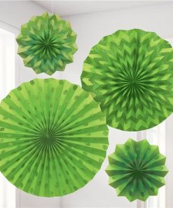 Lime Green Paper Glitter Fan Decorations