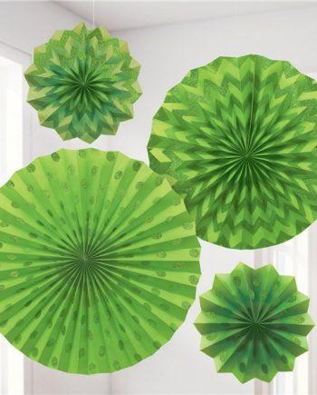Lime Green Paper Glitter Fan Decorations