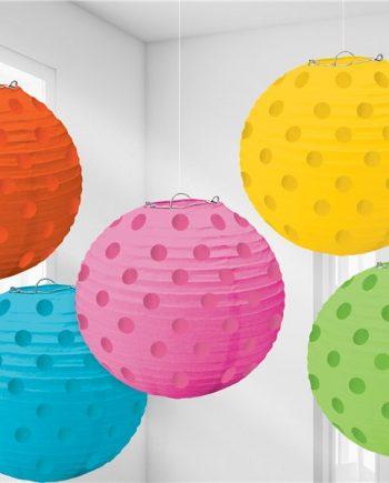 Multi Coloured Foil Dot Hanging Lantern Decorations