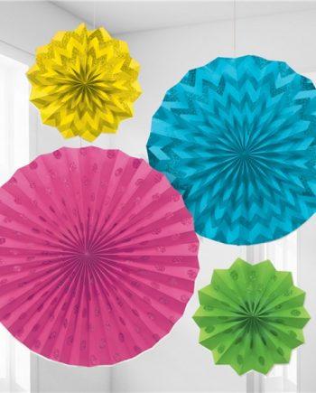 Multi Coloured Paper Glitter Fan Decorations