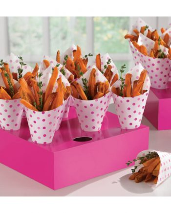 Pink Buffet Snack Cones with Tray
