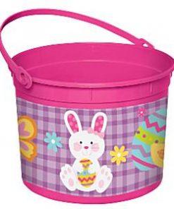 Pink Easter Bunny Plastic Bucket