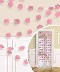 Pink Glitter Hanging String Decorations