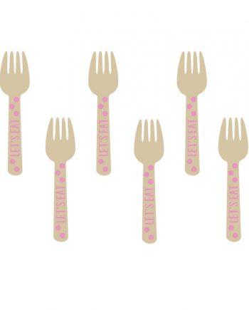 Pink Mini Wooden Forks