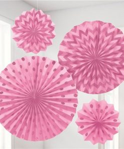 Pink Paper Glitter Fan Decorations
