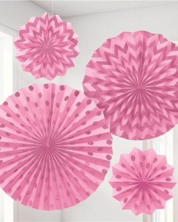 Pink Paper Glitter Fan Decorations
