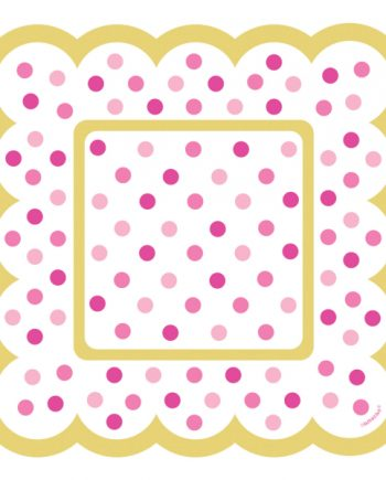 Pink Square Scalloped Paper Plates