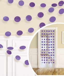 Purple Glitter Hanging String Decorations