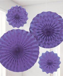 Purple Paper Glitter Fan Decorations