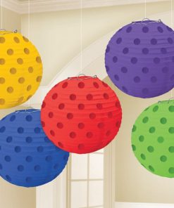 Rainbow Foil Dot Hanging Lantern Decorations